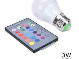 Лампа светодиодная мультицветная с пультом управления Е27 3W