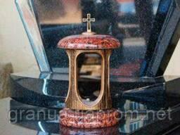 Лампада (подсвечник) гранитная красная для надгробных. ..