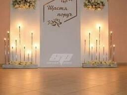 Лампы, свечи, декор, свадебная фотозона, президиум