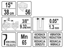 """Ланцюг YATO l= 15""""/ 38 см (56 ланок) для ланцюгових пил з направляючою шиною YT-849321"""