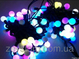 LED Гирлянда нить 10 м, черный кабель(120 Led), RGB,24