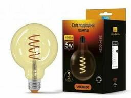 Ретро LED лампа Videx Filament G125 5W E27 диммерная