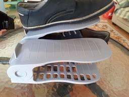 Двойная регулируемая стойка для обуви Эко double Shoe Slotz бежевая .