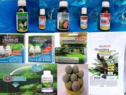 Лекарства для лечения рыб. Препараты для воды. Удобрения для растений.