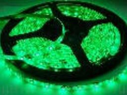 Лента Светодиодная в силиконе 3528, (60 светодиодов) 5 метров катушка Green