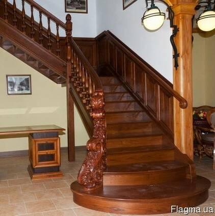 Лестница из дерева на второй этаж №9 Под заказ