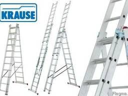 "Лестница-стремянка алюминиевая ""Krause"" 3х11 на 7,3 метра."