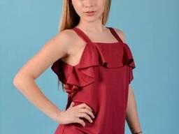 Летний сарафан из льна для девочки бордового цвета
