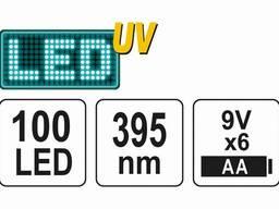 Ліхтар ультрафіолетовий з окулярами для перевірки банкнот YATO 100 LED 6 x AA 395 нм