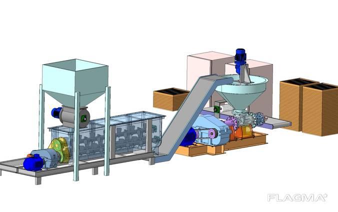 Линия подготовки сырья , технология брикетирования углерода.
