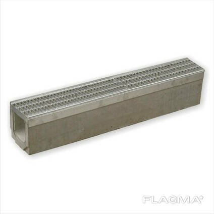Лоток для стока воды бетонный DN100 H190 класс D400 секционная решетка