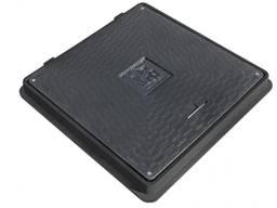 Люк полимерпесчаный квадратный 640х640 с замком А15 (чёрный)