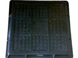 Люк полимерпесчанный квадратный 710х710 с замком А15 (чёрный
