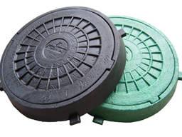 Люк садовый пластмассовый легкий (черный) с замком