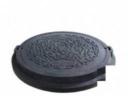 Люк садовый полимерпесчаный (А15) черный с замком