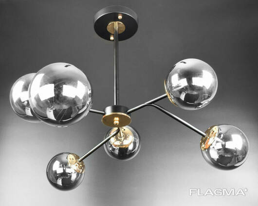 Люстра потолочная на 6 лампочек 8122/6-bk Черный, золото 50х66х66 см.