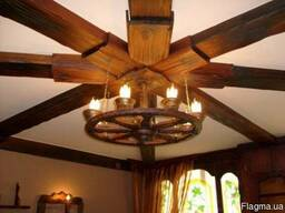 Люстры потолочные деревянные под старину Код: ДЛ-1Под заказ