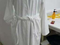 Махровый белый халат кимоно