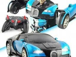 Машинка Трансформер Автобот Bugatti Robot Car Size Синяя С Пультом