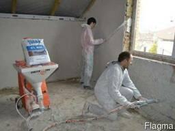 Машинная штукатурка стен и стяжка 150 грн м2 с материалами.