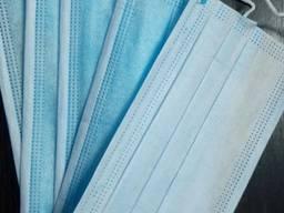 Маски трехслойные одноразовые голубые 50 шт в уп