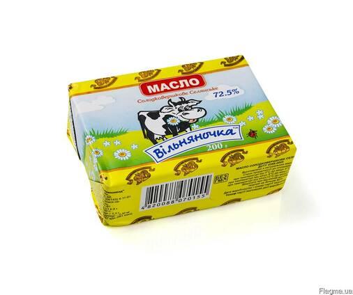 """Масло сладкосливочное """"Селянское"""" 72,5% в пачках по 200 г"""
