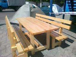 Мебель садовая (меблі садові). Стол и две скамьи.