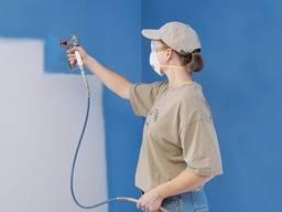 Механическая покраска стен потолка квартир комнат кафе офиса