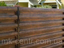 Металлический штакетник 130мм 043мм 3-D Тёмное дерево 2-ст. Штахети металеві на забор
