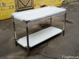 Металлический стол из нержавеющей стали с полкой