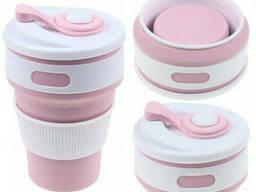 Многоразовый складной силиконовый стакан, крышка с клапаном Beauty 350 мл Розовый. ..