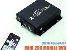 Мобильный AHD видеорегистратор на 2 камеры Pomiacam HD DVR для такси, автобусов. ..