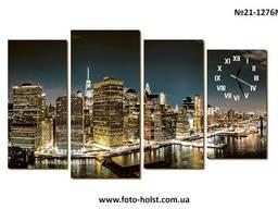 Модульная картина город Нью-Йорк, Манхэттен, часы красивые