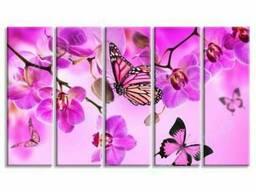 Модульная картина Орхидеи и бабочки (N467)