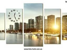 Модульная картина Париж, Эйфелева башня, с часами, без часов