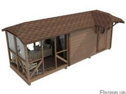 Модульный деревянный дом 4х2,3м с верандой