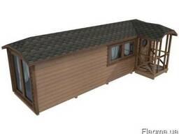 Модульный деревянный дом 8х2,3 с открытым крыльцом