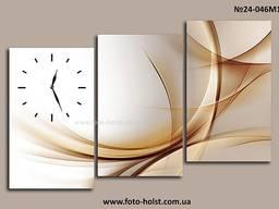 Модульные картины абстракция, триптих, часы