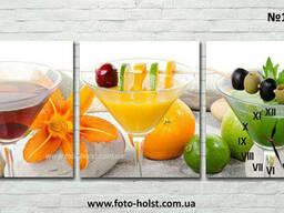 Модульные картины фрукты, чай, часы для кухни