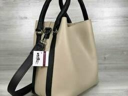 Молодежная женская сумка Леора бежевого цвета - фото 2