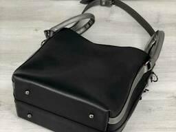 Молодежная женская сумка Леора черного цвета - фото 4