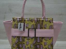 Молодежная женская сумка Ремень желтая змея с розовым. ..