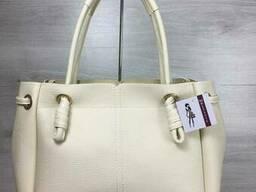 Молодежная женская сумка-шоппер Эвелин бежевого цвета