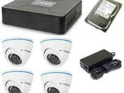 Монтаж AHD видеонаблюдения 4 купольные антивандальные камеры