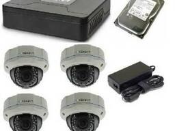 Монтаж IP видеонаблюдения 4 купольные антивандальные камеры