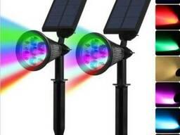 Мультицветной газонный светильник фонарь на солнечной батарее 7 LED