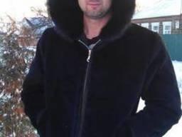Мужская куртка из плюшевой нутрии, капюшон – норка.