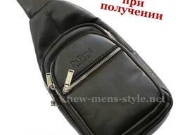 Мужская модная кожаная сумка слинг рюкзак бананка Dr. Bond. ..