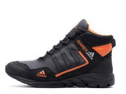 Мужские зимние кожаные ботинки Adidas Terrex Black Orang (реплика)