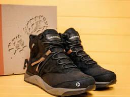 Мужские зимние кожаные ботинки Merrell Black (реплика)